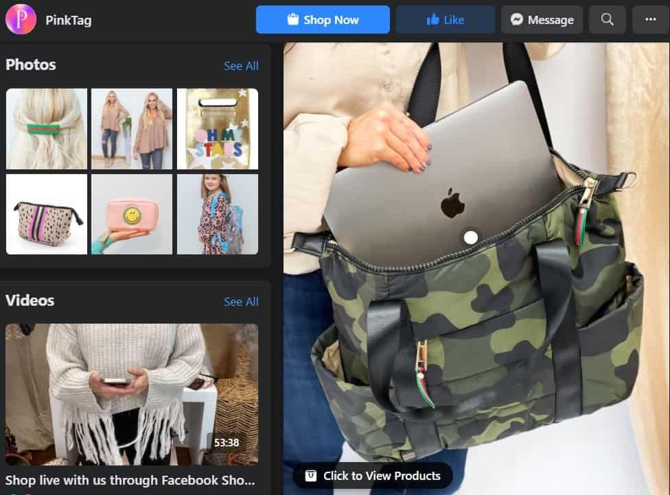 pink tag botique facebook shop example