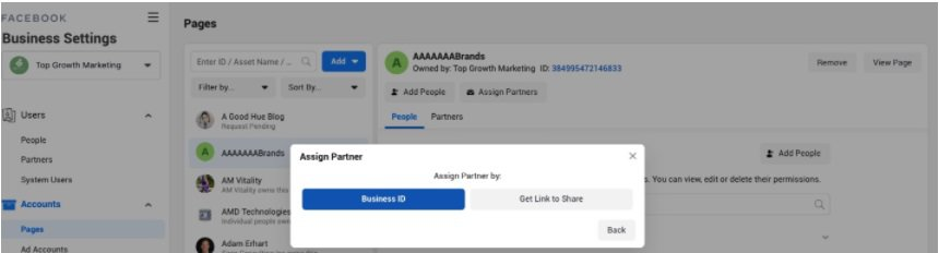 facebook influencer page business ID
