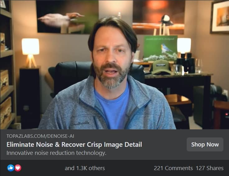 topaz labs influencer marketing facebook ad example